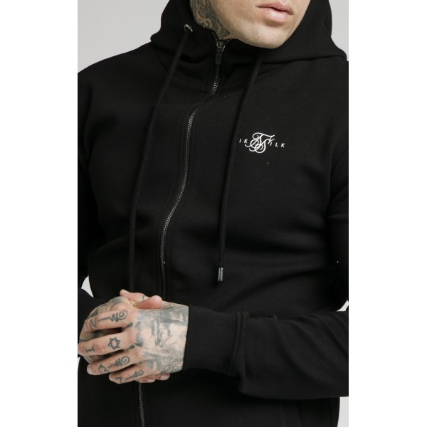 Mikina SIK SILK Zip Muscle Fit Hoodie black