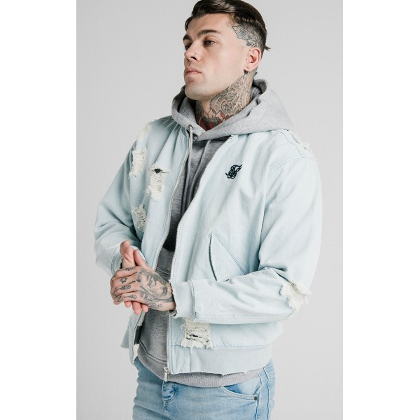 Bunda SIK SILK Distressed Denim Bomber light blue