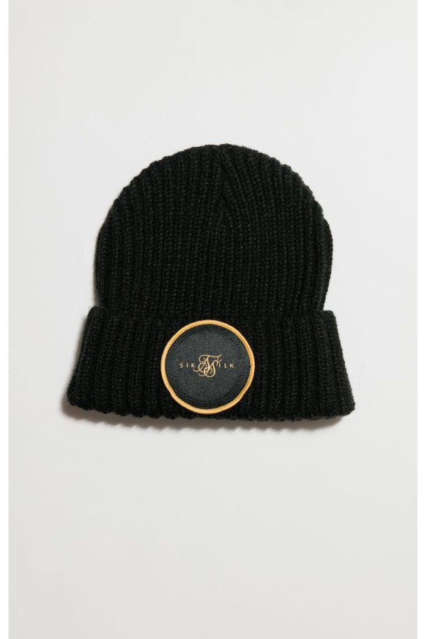 Zimná čiapka SIKSILK Rib Cuff Beanie black/gold