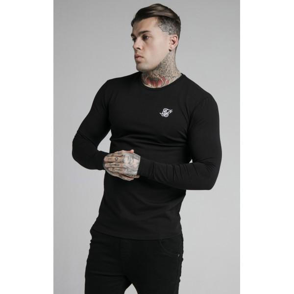 Tričko SIK SILK Long Sleeve Gym Tee black