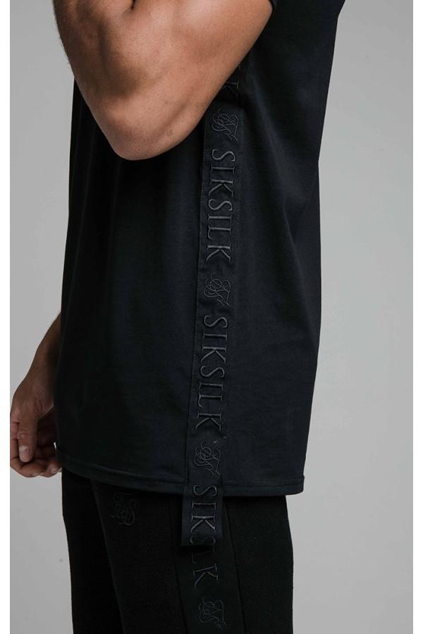 Tričko SIKSILK Embroidered Tape black