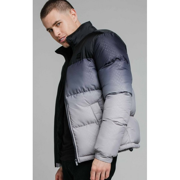 Bunda SIK SILK Print Bubble Jacket black/grey