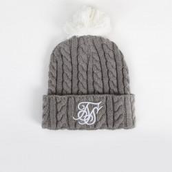 Zimná čiapka SIK SILK Cable Bobble grey/white