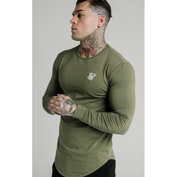 Tričko SIK SILK Long Sleeve Gym Tee khaki