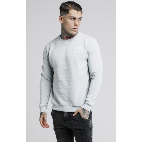 Sveter Sik Silk Straight Hem Crew Sweater grey