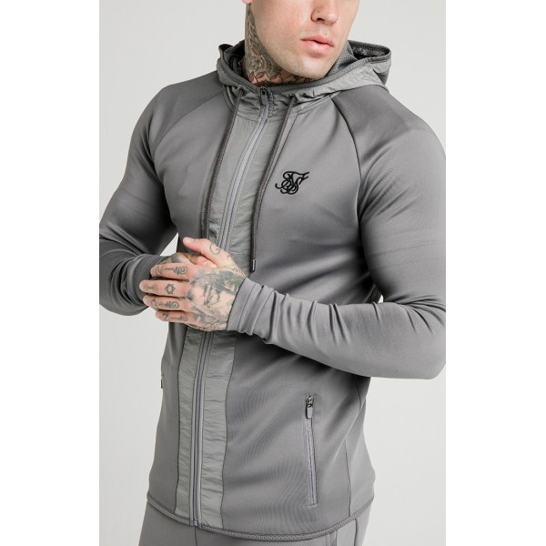 Mikina SIK SILK Creased Nylon Hoodie grey