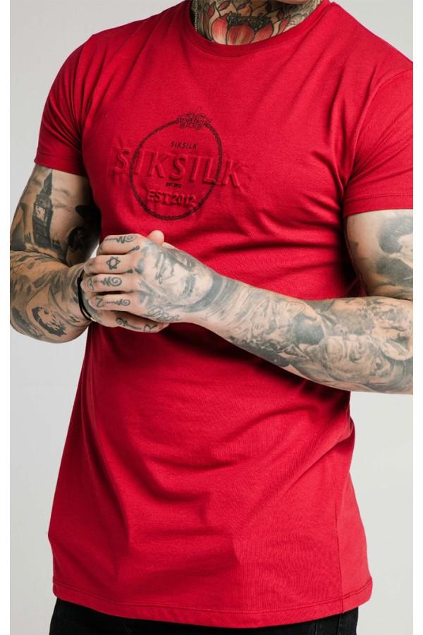 Tričko SIK SILK Chain Print Box tee red